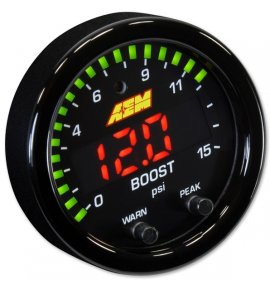 AEM X-Series Boost Pressure / Fuel Pressure Gauge, 0-15PSI, (30-0309)