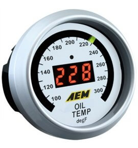 AEM Digital Oil/Water/Transmission Temp Gauge, 100-300F, (30-4402)